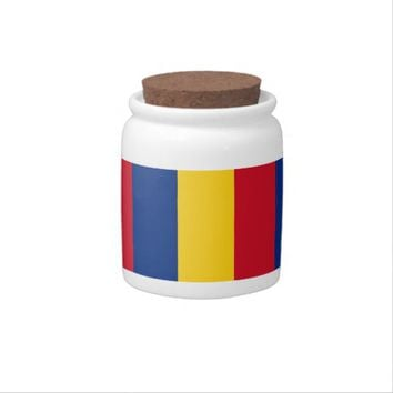 Romanian Flag on Candy Jar