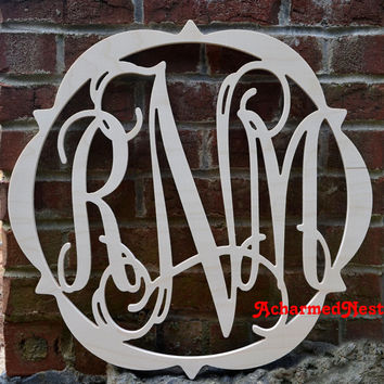 20 inch  BORDER Vine Connected Letter Monogram, Wedding Nursery letter