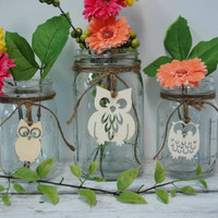 Owls table decor Rustic set of 3 Mason Jars decorated with wooden Owls