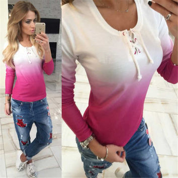 Womens Gradient Color Loose Pullover T Shirt Long Sleeve Cotton Tops Blouse Sweatshirt Tops