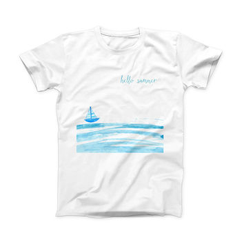 The Hello Summer Sailboat ink-Fuzed Front Spot Graphic Unisex Soft-Fitted Tee Shirt