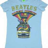 The Beatles Magical Mystery Tour Bus Light Blue Juniors T-Shirt - The Beatles - | TV Store Online