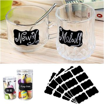 32Pcs 4 Set Blackboard Sticker Craft Kitchen Jar Organizer Labels Chalkboard Chalk Board Stickers Black