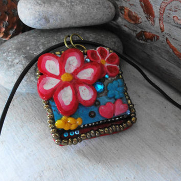 Polymer clay-Red flowers pendant,  Customize my own, Ready to ship, Gift for her, Gift for women, mom, girlfriend, wife, Original work, ooak