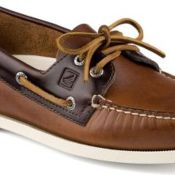 Sperry Top-Sider Authentic Original Cyclone Leather 2-Eye Boat Shoe Tan/Amaretto, Size 12M  Men's Shoes