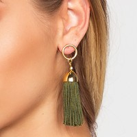 Natalia Tassel Earrings - Olive