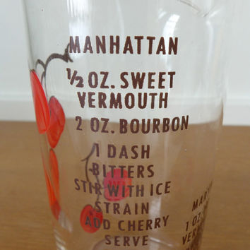 Rare Federal Glass cherry cocktail pitcher