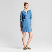 Maternity Lace Up Chambray Dress with Belt - Blue - Fynn and Rose
