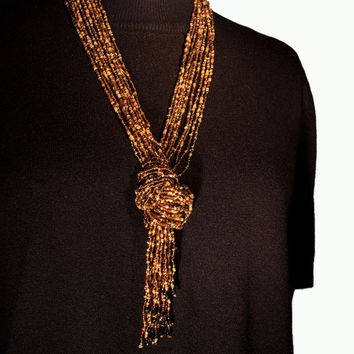 Brown Beaded Multi Strand Boho Necklace