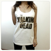 The Walking Dead - Zombie US Series Womens Printed Tank Top Crop Top White TShirt