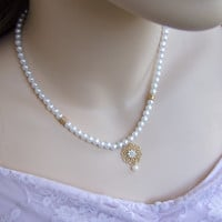 Pearl Wedding Necklace, Bridal Necklace, Romantic Gold Neckalce ,Vintage Necklace, Bridal Jewelry