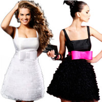 Sweetheart Prom Short Bow Homecoming Evening Gown Bridesmaid Wed Pleated Dress from MustHaveGift