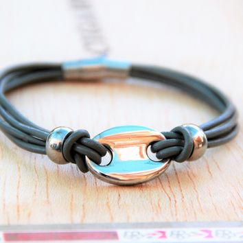 Ladies Grey Leather and Chic Charm Bracelet