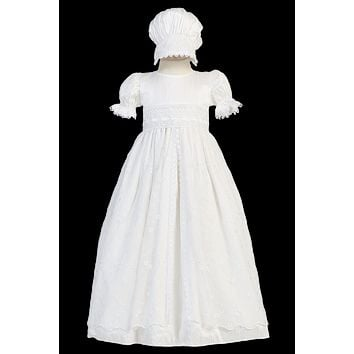 Silk Christening Gown w. Embroidered Tulle & Lace Trim Girls 0-18M