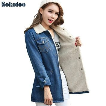 Sokotoo Women's winter warm down jacket Lady's thicken fashion denim coat Female casual polo collar outerwear Free shipping