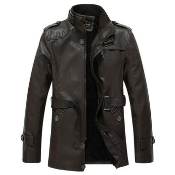 Winter PU Leather Jacket men long wool leather Standing Collar Jackets Coat Trench parka mens leather jackets and coats XXXL