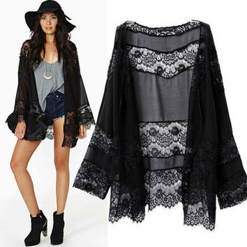 2017 elegant black kimono lace lace scarf and long sleeve coat