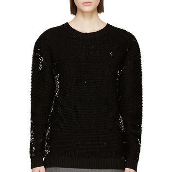 Mcq Alexander Mcqueen Black Sequin Knit Crewneck Sweater