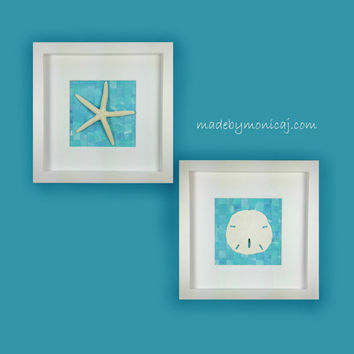 Coastal Cottage Decor Set.  Starfish and Sand Dollar Wall Decor.  Set of Two.  Ocean blue and aqua