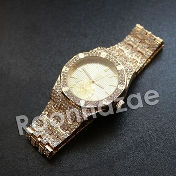 Iced Out Hip Hop Gold Techno Pave Gold Wrist Watch