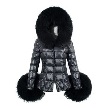 Women Winter Coat 2017 Women's Cotton Parkas Warm Faux Fur Collar Hooded Anorak Quilted Jackets Manteau Femme Plus Size Black