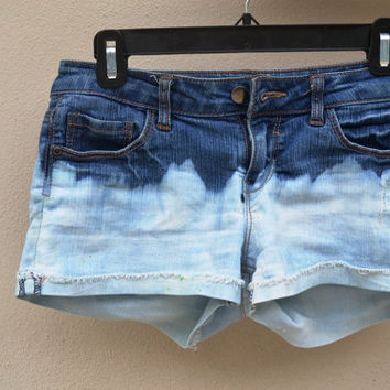 High waisted dip dyed bleached denim shorts