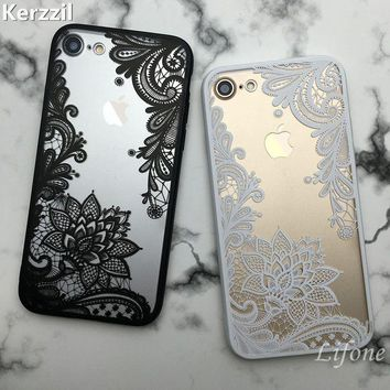 Kerzzil Retro Vintage Lace Flower Clear Case For iPhone 7 6 6S Plus 5s SE Cartoon Cat Skull Phone Cover For iPhone 6 7 6S 5S