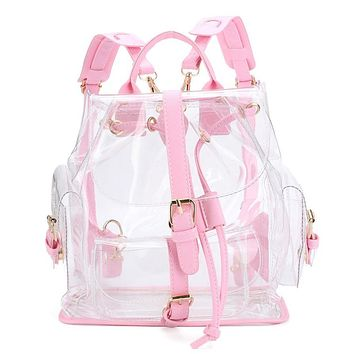 Women's Backpack Clear Plastic See Through Security Transparent Backpack Bag Ladies Travel Bag Ladies Bag mochila feminina