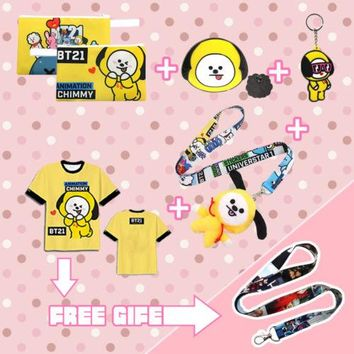 Kpop BTS BT21 ARMY VAN MANG CHIMMY TATA COOKY T-shirt+Pencil Case+Badge+Keychain+Plush Doll Phone Rope Cosplay Costume Props Set