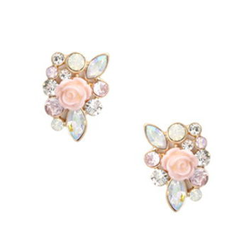 Faux Gem Rose Earrings