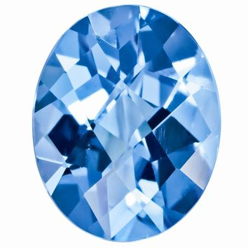 Loose Blue Topaz Gemstone  7x5mm Oval Checkerboard AAA Quality
