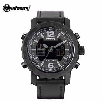 Mens Watches Digital Leather Quartz Watches Male Aviator Sports Watches Night Vision Clock Waterproof  Top Luxury