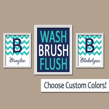 Brother Sister Bathroom Wall Art Canvas Artwork Boy Girl Name Monogram Initial Bath Navy Blue WASH Brush Chevron Set of 3 Trio Prints