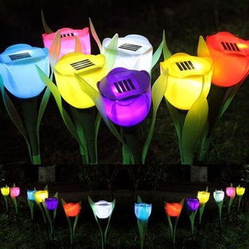 Candy Colors Solar Power Tulip Landscape Flower Lights Outdoor Yard Garden Path Way = 1958498820