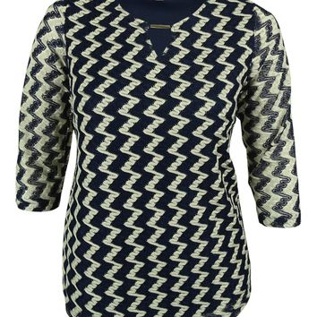 JM Collection Women's Chevron Pattern Crochet Top