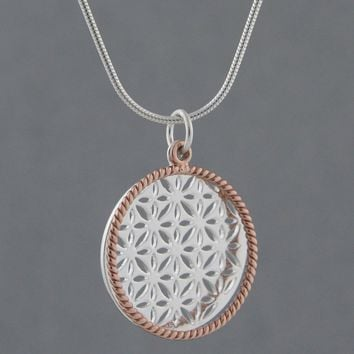 Flower of Life Rose Gold Halo Pendant