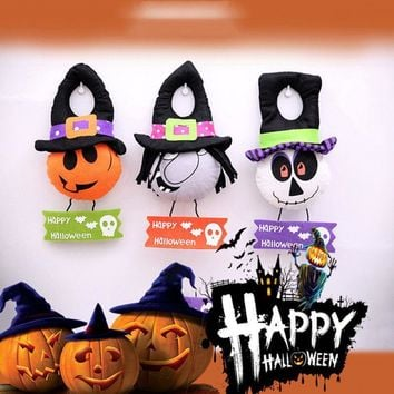Halloween Party Supplies cartoon cute cloth Dolls pumpkin witch skeleton Home Door Hanging Decoration accessory random color
