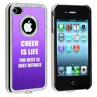 Apple iPhone 4 4S 4G Purple S893 Rhinestone Crystal Bling Aluminum Plated Hard Case Cover Cheer Is Life