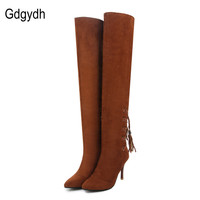 Gdgydh Fashion Stretch Fabric Black Over The Knee Boots Womens Pointed Toe Ladies Autumn Shoes High Heels Tassel Boots Big Size