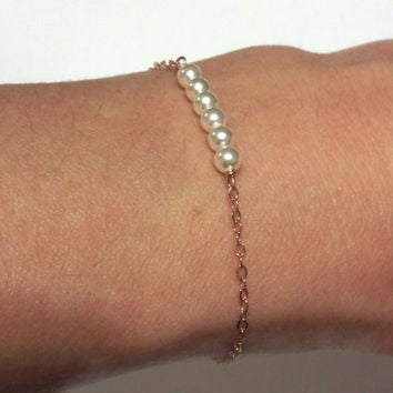Rose Gold Pearl Bracelet- Gold Filled Dainty petite pearls rose gold jewelry- Tiny Pearl Bracelet- great gift