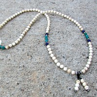 Calm, Howlite and Genuine Turquoise 108 Bead Mala Necklace