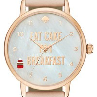 kate spade new york 'metro - eat cake' leather strap watch, 34mm | Nordstrom