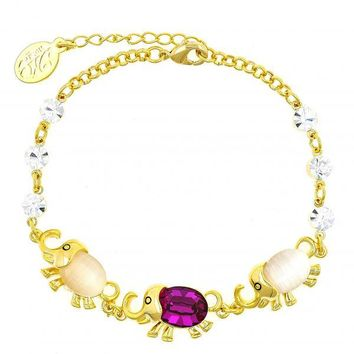 Gold Layered Fancy Bracelet, Elephant Design, with Crystal and Opal, Gold Tone