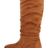 Camel Slouchy Mid Calf Casual Boots Faux Suede
