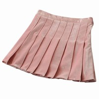 Pink Velvet Pleated Mini Skirt