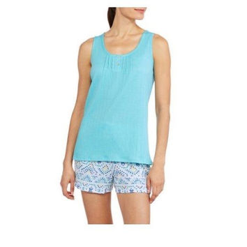 I. Appel Women's Sleeveless  V-Neck Sleep Tank and Sleep Short 2 Piece, Blue, L