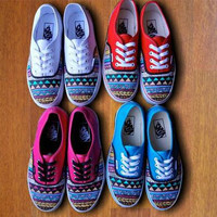 Tribal Aztec Painted Shoes - Vans