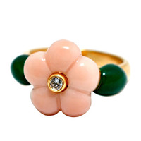 Van Cleef & Arpels Coral Jade Diamond Yellow Gold Ring
