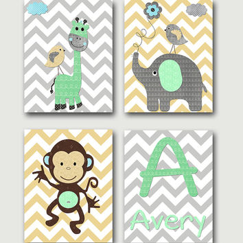 Monogram Nursery Art Print Giraffe Elephant Monkey Nursery Decor Art for Children Baby Boy Nursery Decor Baby Boy Room Decor set of 4 8x10