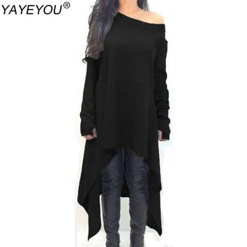 YAYEYOU New Autumn  Maxi Dress Women Dress Long Sleeve Knitted Sweater Dresses Black Gray Irregular Hem Plus Size 3XL Vestidos